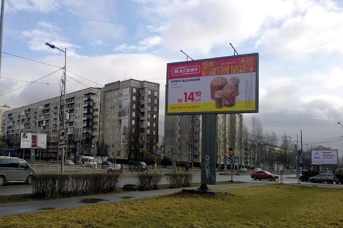 Рекламный щит 6х3 метра (биллборд)  на проспекте Героев в Киришах.
