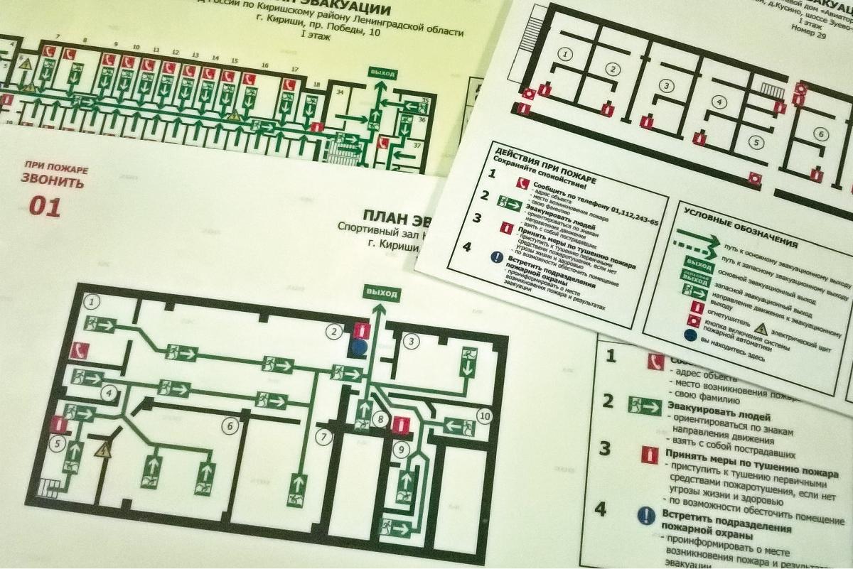 Фотолюминисцентные планы эвакуации на твердой пластиковой основе по ГОСТ Р 12.2.143-2009.
